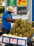 Durianverkoper stock foto
