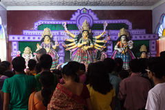 Durja Pooja, Dussehra festival, India. Durga pooja or Dussehra festival is celebrated with the worship of decorated idols of goddess durga mata in the temples of Stock Image