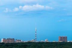 Durk blue dusk sky over city in summer Royalty Free Stock Photos