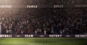 Durk empty soccer stadium 3D in light rays render blur. Lights at night and stadium 3d render Stock Image