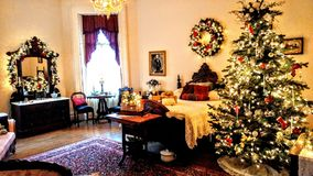 Durkee Mansion Christmas Bedroom, Kenosha, WI royalty free stock photography