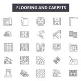 Durken och mattor fodrar symboler för rengöringsduk och mobil design Redigerbart slaglängdtecken Durk- och mattöversiktsbegrepp royaltyfri illustrationer