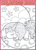 Durmiendo poco unicornio del cuento de hadas en Imagen de archivo