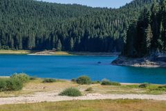 Paradise views of the national park Durmitor in Montenegro. Turquoise water of the lake, pine forest and mountains. Stunning backg. Durmitor, Montenegro - August stock photos