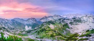 Durmitor Montenegro. Beautiful mountain ion sunset in northern Montenegro Stock Photos