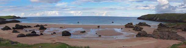 Durness beach highlands. Panoramic photo of durness beach highlands Stock Photos