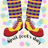 Durnia ` s dzień Śmieszy nogi błaznują w jaskrawych ogromnych butach wektor ilustracji