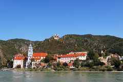 Durnstein, Austria. View of the Durnstein from the Danube, with the castle seen on top of the hill Royalty Free Stock Photo