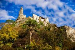 Durnstein castle. Castle of Durnstein, Wachau valley, Austria royalty free stock photos