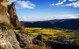 Durnstein castle. Castle of Durnstein, Wachau valley, Austria royalty free stock images