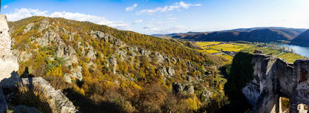 Durnstein castle. Castle of Durnstein, Wachau valley, Austria royalty free stock photo