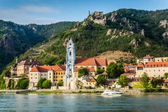 Durnstein on the Danube River in the picturesque Wachau Valley stock photos