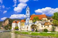 Durnstein lägre Österrike Wachau dal Arkivfoto