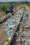 Durres, ALBANIA, August 03, 2009: Garbage in full nature royalty free stock photography