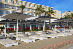 DURRES. ALBANIA. DURRES - JUNE 17, 2017: Luxury hotel on the Adriatic coast on a sunny summer day. Durres is a popular seaside resort in Albania Stock Photo