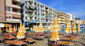 DURRES. ALBANIA. DURRES - JUNE 17, 2017: Luxury hotel on the Adriatic coast on a sunny summer day. Durres is a popular seaside resort in Albania Royalty Free Stock Photo