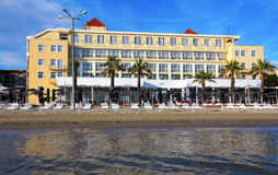 DURRES. ALBANIA. DURRES - JUNE 17, 2017: Luxury hotel on the Adriatic coast on a sunny summer day. Durres is a popular seaside resort in Albania Royalty Free Stock Images