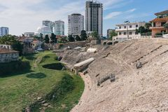 Ruins of the Roman amphitheatre in the centre of Durres, Albania. Durres Amphitheater. Durres is the second largest city of Albania. The city founded in the 7th Royalty Free Stock Photo