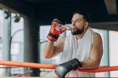 Durstiger männlicher Boxer, der eine Pause trinkt von der Wasserflasche nach der Ausbildung in der Turnhalle macht Mann nach star stockbild