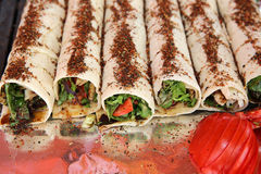 Durum Doner Kebab. Traditional Turkish wrap roll bread called Durum Doner Kebab royalty free stock image