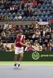 Dusan Lajovic return a ball-2 Royalty Free Stock Photos