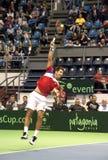 Dusan Lajovic serving a ball Stock Photos