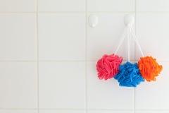 dusch för huvuddelnylonskurborstar Arkivbild