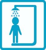 dusch för manlokal Arkivbild