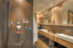 Dusch i en härlig badrum royaltyfria foton