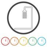 Duscha symbolen, illustrationen, 6 inklusive färger Arkivbilder