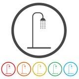 Duscha symbolen, vektorillustrationen, 6 inklusive färger Fotografering för Bildbyråer