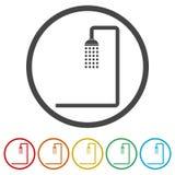 Duscha symbolen, vektorillustrationen, 6 inklusive färger Royaltyfria Bilder