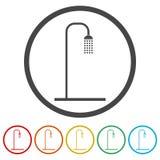 Duscha symbolen, vektorillustrationen, 6 inklusive färger Arkivbild