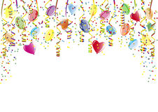 Dusche von Konfettis, von Ballonen und von Papierschlange Lizenzfreie Stockfotos