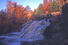 Duscheney falls at sunset Royalty Free Stock Image