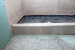 Duschrenovering - duschpanna Arkivfoton