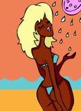 duschvattenkvinna Royaltyfri Bild