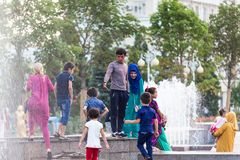 Dushanbe residents on the streets of the city. DUSHANBE, TAJIKISTAN - CIRCA JUNE 2017: Dushanbe residents on the streets of the city circa June 2017 in Dushanbe royalty free stock photos