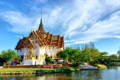 The Dusit Maha Prasat in the Ancient Siam Royalty Free Stock Images