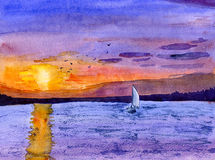 dusk βαρκών πανί Στοκ Εικόνα