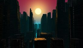 Dusk πόλεων ελεύθερη απεικόνιση δικαιώματος