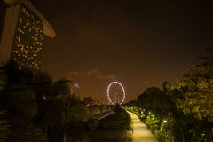 dusk Σινγκαπούρη εικονικής παράστασης πόλης Τοπίο του επιχειρησιακού νεαρού δικυκλιστή της Σιγκαπούρης στοκ φωτογραφίες με δικαίωμα ελεύθερης χρήσης