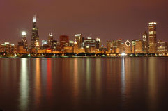 dusk του Σικάγου ορίζοντας Στοκ Εικόνα