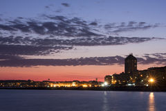 City by the Sea At dusk royalty free stock photography