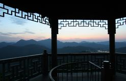 Dusk. A pavilion on the Peak in Hangzhou Stock Image