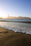 Dusk. Waves near Golden Gate bridge at dusk stock photos