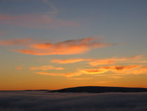 Dusk above the clouds. Scottish Highlands Royalty Free Stock Images