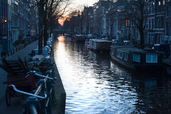 Dusk in Amsterdam Stock Photography