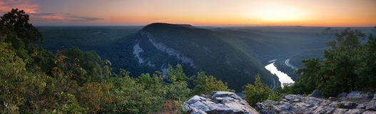 Dusk atop of mountain - panorama Stock Image
