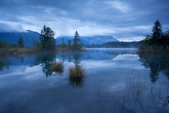 Dusk on Barmsee lake in Alps Royalty Free Stock Photo